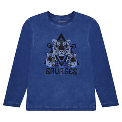 Júnior - Camiseta de manga larga sobreteñida con tigres estampados