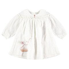 Vestido de manga larga de algodón con muñeca brillante estampada