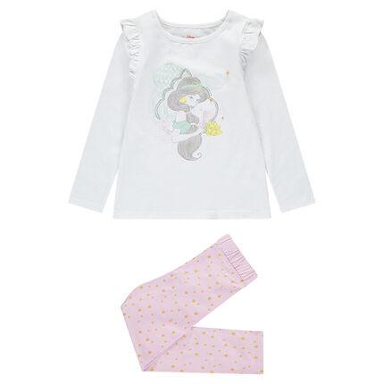 Pijama de punto con estampado de Yasmine ©Disney y mangas con volantes