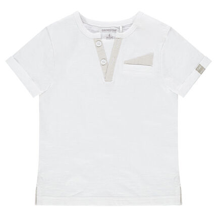 Camiseta de manga corta de punto con bolsillo y cuello  de fantasía