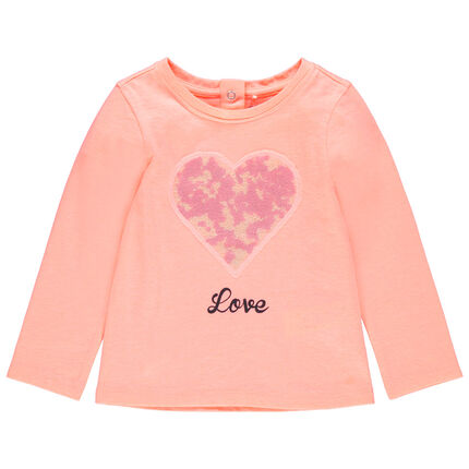 Camiseta de manga larga con corazones de lentejuelas
