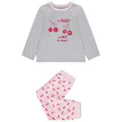 Pijama con cerezas estampadas y brillo