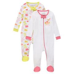 Pack de 2 pijamas de punto con cremallera y estampado de fantasía