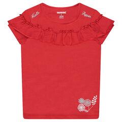 Camiseta de punto de manga corta con volante y estampados plateados