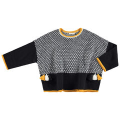 Jersey con forma de poncho con dibujo gráfico y pompones