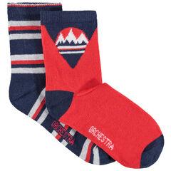 Juego de 2 pares de calcetines variados con montañas y rayas de jacquard