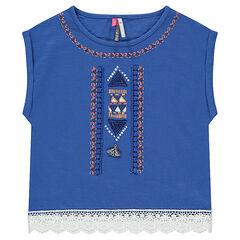 Camiseta de manga corta con bordados y ganchillo