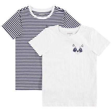 Juego de 2 camisetas lisa/de rayas con animal estampado