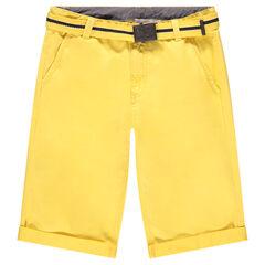 Júnior - Bermudas de algodón amarillo con cinturón desmontable