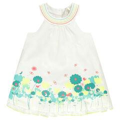 Vestido de nacimiento sin mangas con impresos con flores