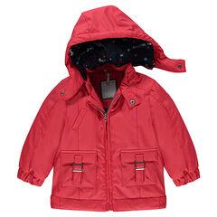 Cortavientos rojo de goma con forro de punto, bolsillos y capucha desmontable