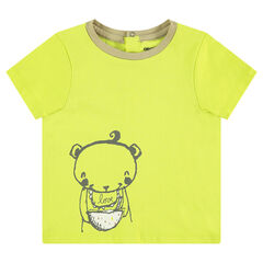 Camiseta de punto de manga corta con estampado de osito