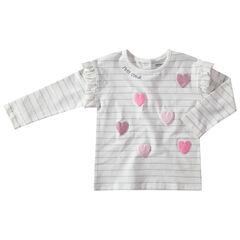 Camiseta de manga larga de rayas con dibujo  brillante de relieve