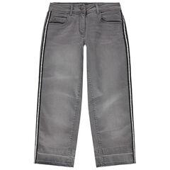 Júnior - Vaquero gris con efecto desgastado y bandas plateadas