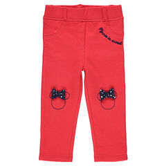 Jeggings de punto rojo con perfil de Minnie bordado y lazo