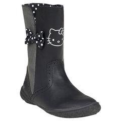 Botas Hello Kitty de color negro y plateado con lazos y de puntos