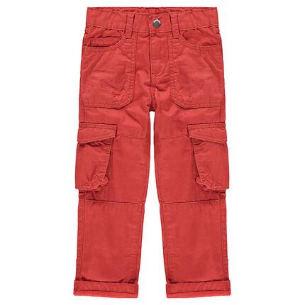 Pantalón cargo de loneta roja con bolsillos de solapa