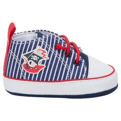 Zapatillas deportivas altas de tela con estampado de barco
