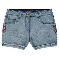Júnior -Shorts vaqueros con aplicaciones bordadas