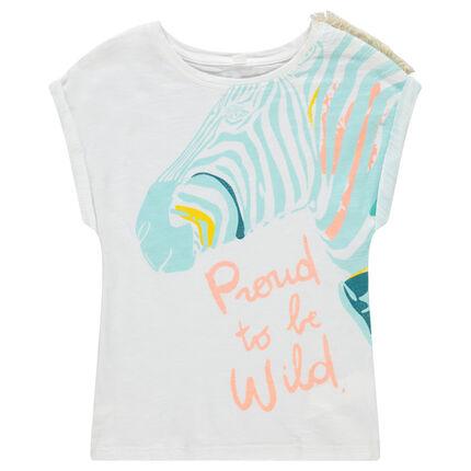 Camiseta de manga corta con cebra estampada y flecos