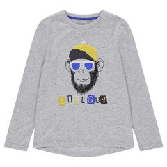 Júnior - Camiseta de manga larga de efecto jaspeado con mono de lentejuelas mágicas