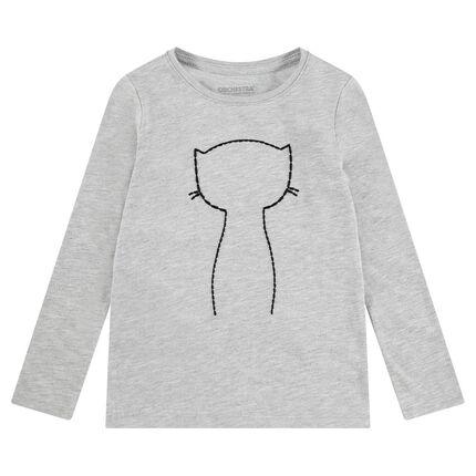 Camiseta de manga larga de punto con gato de lentejuelas adhesivas