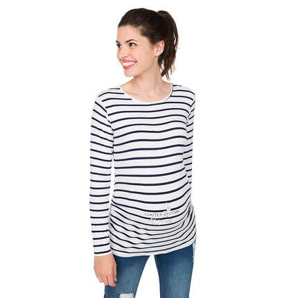 Camiseta de manga larga de premamá de punto liso