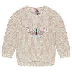 Jersey de punto con efecto brillo y mariposa bordada