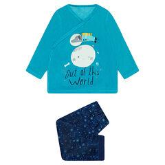 Pijama de terciopelo con estampado de fantasía y bajo con estampado de galaxia