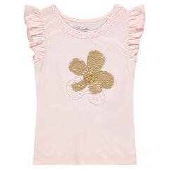 Camiseta de manga corta de punto con flor de lentejuelas mágicas