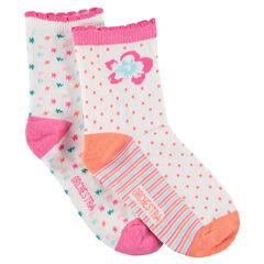 Juego de 2 pares de calcetines con flores y dibujos de jácquard