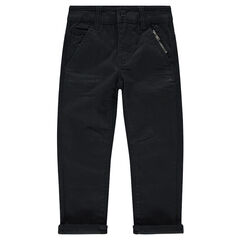 Pantalón recto liso con bolsillos con cremallera