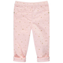 Pantalón de pana con estrellas doradas estampadas