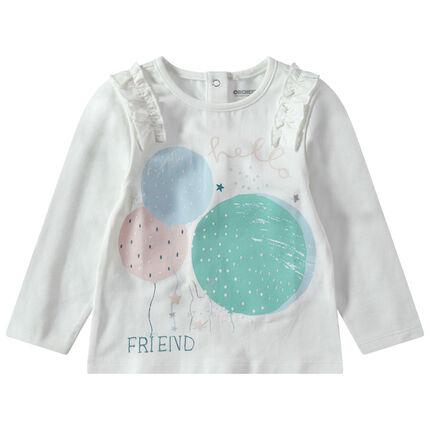 Camiseta de manga corta de punto con estampado de globos y nido de abeja