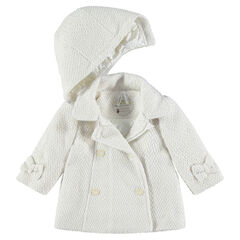 Abrigo de paño de lana de fantasía con capucha desmontable y forro de raso