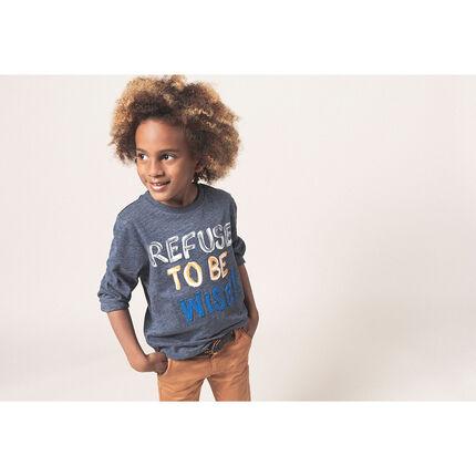 Camiseta de punto jaspeado de manga larga con mensaje estampado y bordado