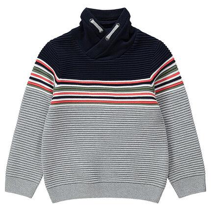 Jersey con cuello con rayas en contraste
