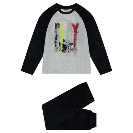 Júnior - Pijama de terciopelo bicolor con estampado con efecto spray