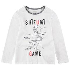 Júnior - Camiseta de manga larga de punto con símbolos estampados
