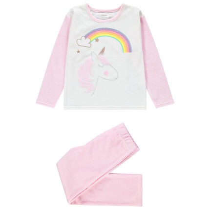 Pijama de terciopelo con unicornio bordado y arcoíris