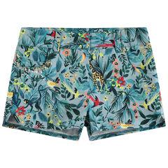 Pantalón corto con estampado tropical all over