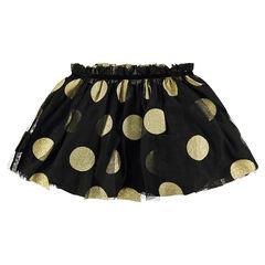 Falda corta de tul con estilo tutú y grandes lunares dorados brillantes