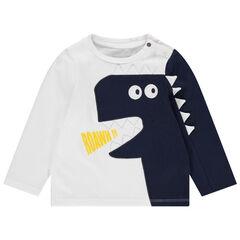 Camiseta de manga larga bicolor con dinosaurio bordado