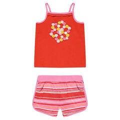 Conjunto con camiseta de flores bordadas y pantalón corto de punto de rayas de fantasía