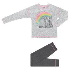 Júnior - Pijama de jersey con fotoprint de arco iris y leggings lisos