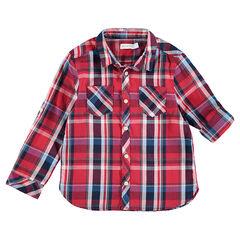 Camisa de manga larga roja con cuadros grandes y bolsillos