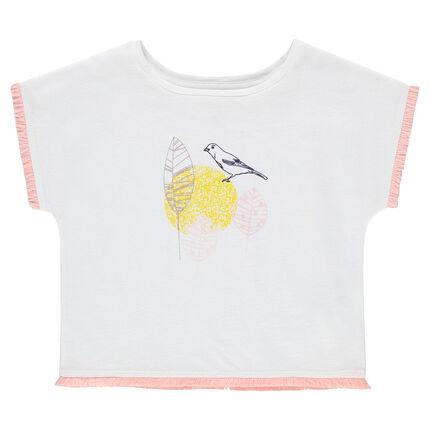 Camiseta de manga corta con acabados de fantasía y pájaro estampado