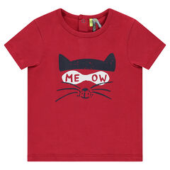Camiseta de manga corta de punto con gato estampado