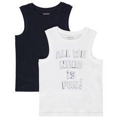 Camiseta de tirantes de algodon bio liso / con mensaje