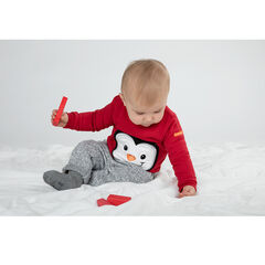 Sudadera de felpa lisa con pingüino bordado